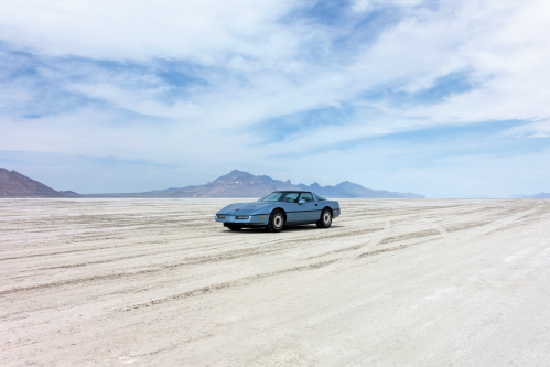 Front quarter view of Lauren on the Bonneville Salt Flats